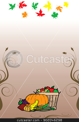 Thanksgiving Background 9 stock vector clipart, Vector Illustration for Thanksgiving Fruit Vegetable Card and Fall Autumn Leaves. by Basheera Hassanali
