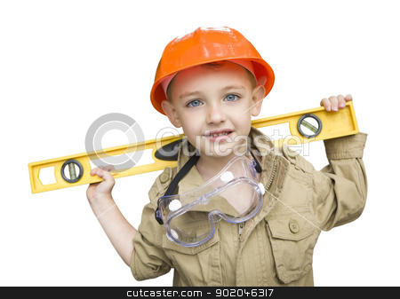 Child Boy with Level Playing Handyman Outside Isolated stock photo, Happy Adorable Child Boy with Level, Hard Hat and Goggles Playing Handyman Isolated on a White Background. by Andy Dean