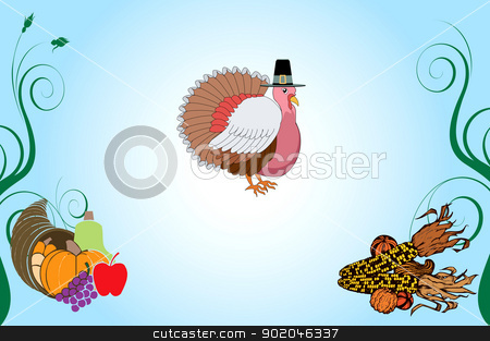 Thanksgiving Background 4 stock vector clipart, Vector Illustration of a Thanksgiving Turkey Background with pumpkin and corn. by Basheera Hassanali
