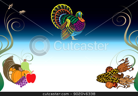 Thanksgiving Background 3 stock vector clipart, Vector Illustration of a Thanksgiving Background with Turkey, Pumpkin and Corn. by Basheera Hassanali