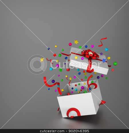 Amazing gift box stock photo, 3D model of amazing gift box and splashed decoration by mrdoggs