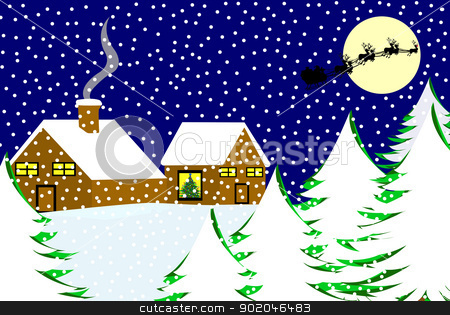 Christmas landscape  stock vector clipart, Christmas landscape with blue sky in background by Ioana Martalogu