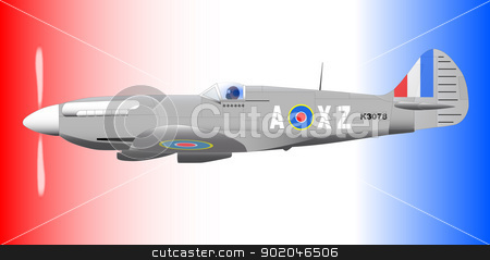 Spitfire stock vector clipart, A Supermarine World War II Spitfire Mark XIV  fighter plane out on patrol against a patriotic red white and blue background. by Kotto