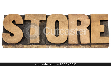 store word in wood type stock photo, store - isolated word in vintage letterpress wood type blocks by Marek Uliasz