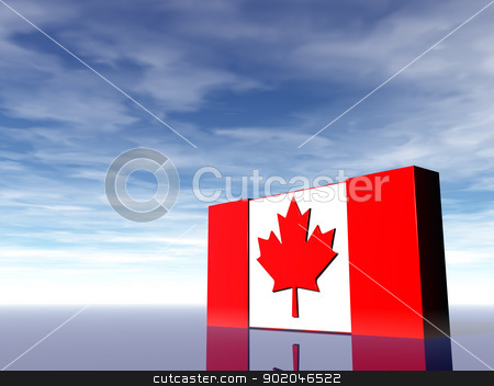 canada stock photo, canada flag under cloudy blue sky - 3d illustration by J?