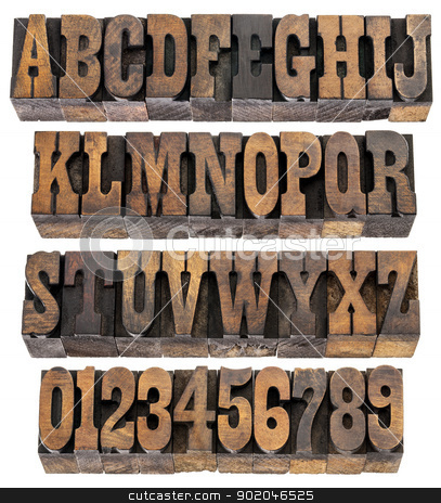 vintage letters and numbers stock photo, isolated rows of letters and numbers in vintage letterpress wood type blocks, French Clarendon font popular in western movies and memorabilia by Marek Uliasz