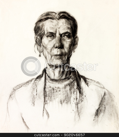 Woman portrait stock photo,  Original pencil  or drawing charcoal, and  hand drawn painting or  working  sketch of a woman.Free composition by borojoint