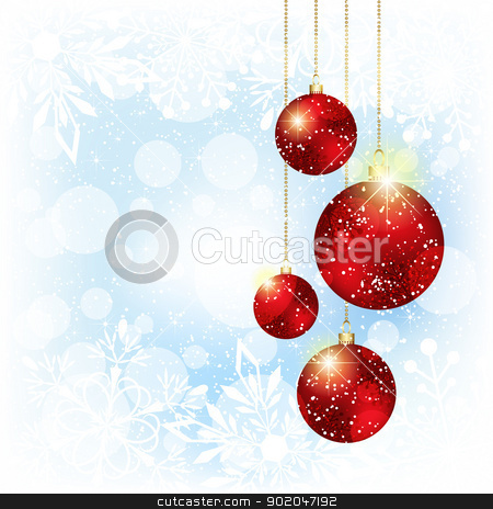 Sparkling Christmas Red Crystal Ball stock vector clipart, Christmas Crystal Ball on White Blue Snowflakes Background by meikis
