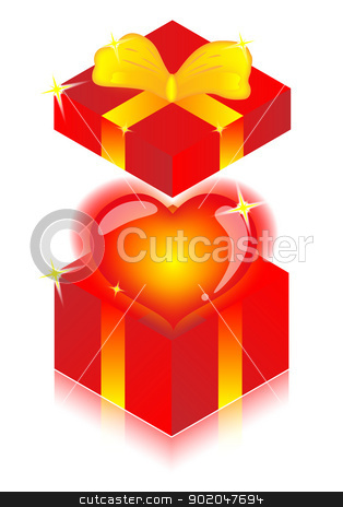 heart in gift boxes  stock photo, heart in gift boxes on white background