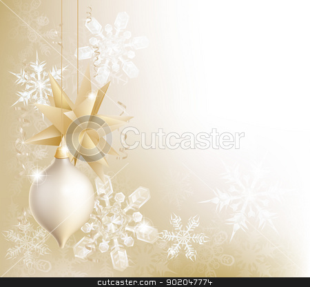 Gold snowflake and Christmas bauble background stock vector clipart, A gold snowflake and Christmas bauble decoration background with hanging ornaments, abstract snow flakes and ribbons by Christos Georghiou