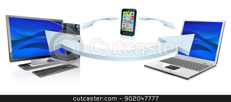Computer laptop and cell phone connecting stock vector clipart, Desktop computer, laptop computer and cell phone connecting or synchronising via wireless technology by Christos Georghiou