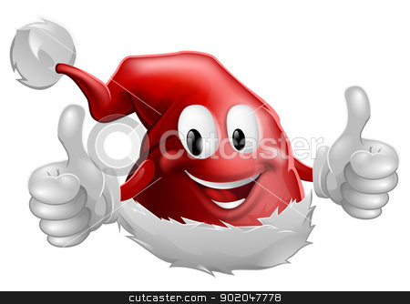Christmas Santa Hat Man stock vector clipart, Illustration of a cartoon Christmas Santa Hat character doing a thumbs up and smiling by Christos Georghiou