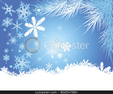 winter background stock vector clipart, snowflakes and balls on a blue background by Yuriy Mayboroda