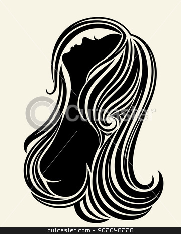 Silhouette of a young woman stock vector clipart, Elegant black and white line art silhouette of a young woman by Allaya