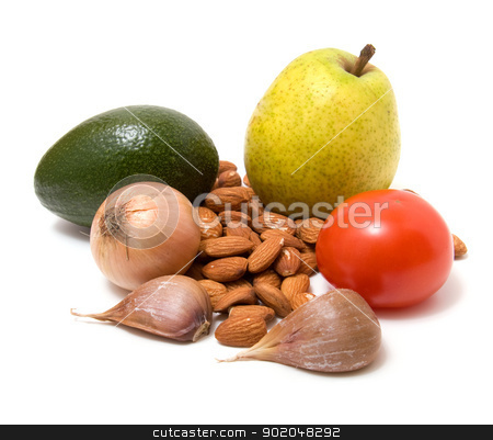 vegetable, nuts and fruit  isolated on white stock photo, vegetable, nuts and fruit  isolated on white by Natika