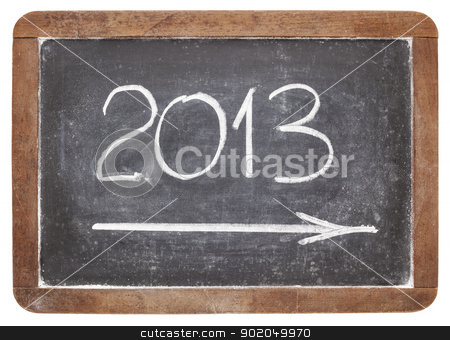 2013 year on blackboard stock photo, incoming 2013 year - white chalk on vintage slate blackboard by Marek Uliasz
