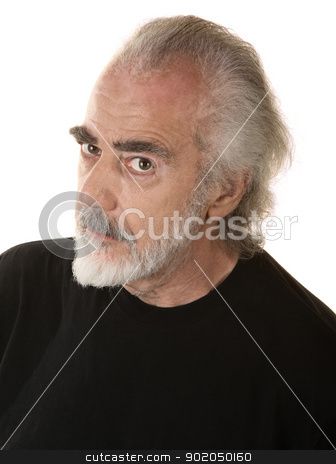 Suspicious Mature Male stock photo, Mature bearded man in black looking suspicious by Scott Griessel