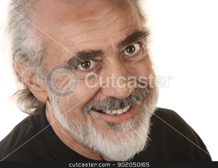 Smiling Male Close Up stock photo, Close up of smiling bearded senior male by Scott Griessel