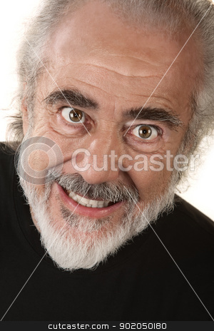 Man with Scary Smile stock photo, Older man in black shirt with frightening smile by Scott Griessel