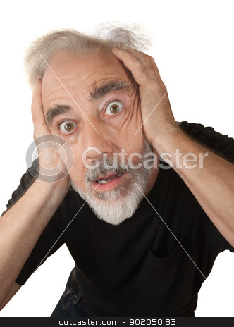 Man Covering His Ears stock photo, Paranoid older white man covering his ears by Scott Griessel