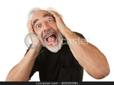 Screaming Older Man stock photo, Screaming man covering his ears over white background by Scott Griessel