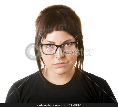 Sneering Female Adult stock photo, Sneering female adult with nose ring and eyeglasses by Scott Griessel