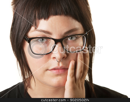 Woman With Nose Ring stock photo, European woman with nose ring and palm on face by Scott Griessel