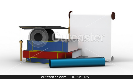 Cap, diploma and books stock photo, Bachelor cap, diploma and books for the student isolated on white by Borislav Marinic