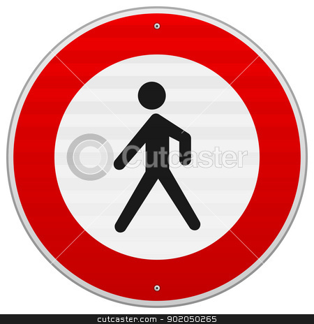 Entrance Forbidden Sign stock vector clipart, Black silhouette of person on red and white road sign by Vitezslav Valka