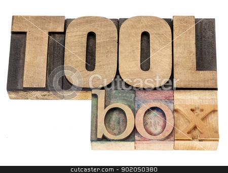 toolbox in wood type stock photo, toolbox - isolated word in vintage letterpress wood type blocks by Marek Uliasz