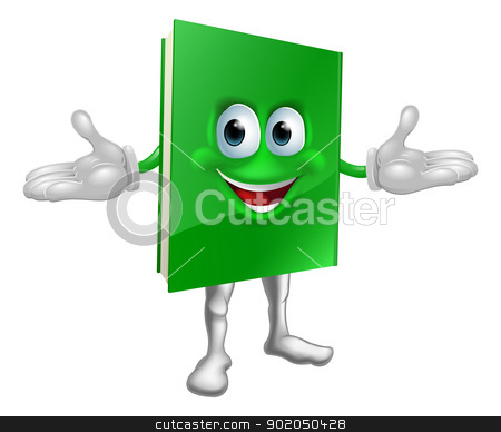 Happy cartoon book man stock vector clipart, Happy cartoon green book man illustration by Christos Georghiou