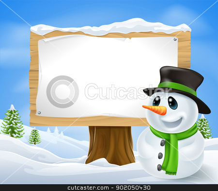 Christmas Snowman Sign stock vector clipart, Christmas Snowman and large wooden Christmas sign with copyspace by Christos Georghiou