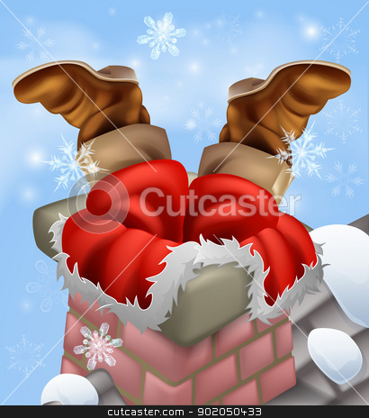 Santa stuck in a chimney stock vector clipart, Christmas illustration of Santa stuck in a chimney while delivering his Christmas gifts. by Christos Georghiou
