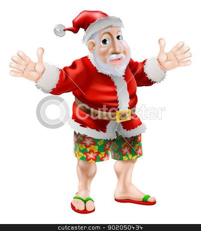 Cartoon beach Santa stock vector clipart, Summer Santa in beach wear, long board shorts or Bermuda shorts and flip-flop sandals by Christos Georghiou