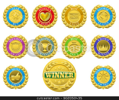 Winners medals stock vector clipart, Golden winners medals like those used for product or consumer reviews or tests or for product descriptions  by Christos Georghiou