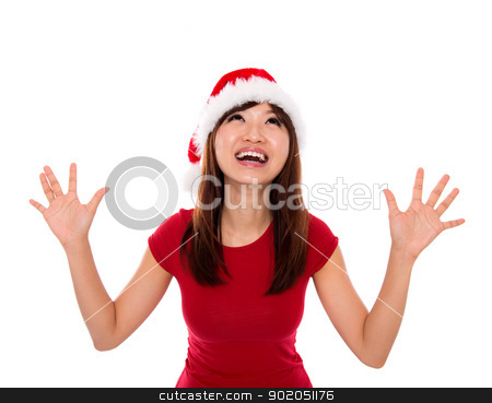 Excited Santa woman stock photo, Excited Asian Santa woman open arms looking up by szefei