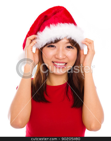 Asian woman in santa clause hat stock photo, Beautiful Asian woman in christmas santa clause red hat smiling, isolated on white background by szefei