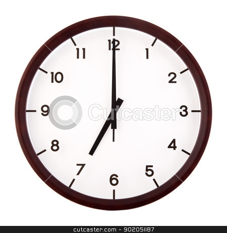 Classic analog clock stock photo, Classic analog clock pointing at 7 o'clock, isolated on white background by szefei