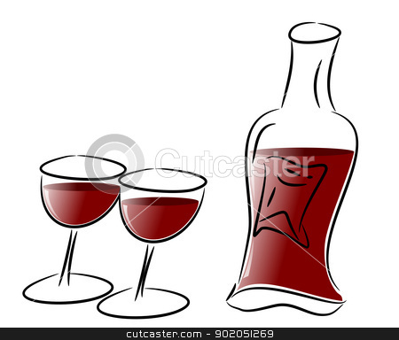 Red Wine Glasses and Bottle stock photo, Free hand illustration of two wine glasses and a red wine bottle  by Sidharth Thakur
