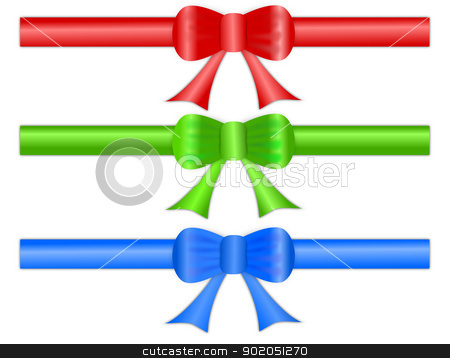 Festive Gift Ribbon Bows stock photo, A set of three festive gift ribbon bows in shiny satin like material, for page headers and footers