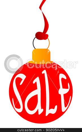 Red Sale Ball stock vector clipart, A bright red Christmas and New Year sale ball by Kotto