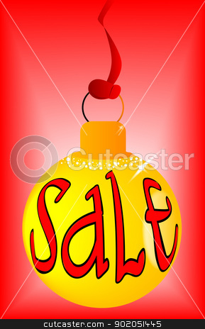 Yellow Sale Ball stock vector clipart, A bright yellow Christmas and New Year sale ball by Kotto