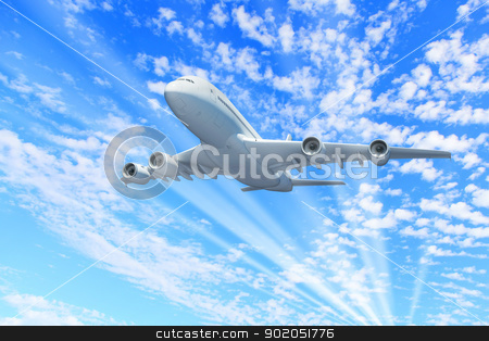 Large passenger airplane stock photo, Large passenger airplane flying in the sky by Sergey Nivens