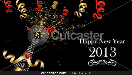 Happy New Year 2013 banner  stock vector clipart, Diamond champagne bottle with gold ribbon New Year celebration splash. Vector illustration layered for easy manipulation and custom coloring. by Cienpies Design