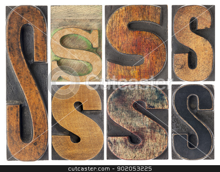 letter S in wood type blocks stock photo, letter S - 7 isolated vintage letterpress wood type blocks with ink patina, variety of fonts by Marek Uliasz