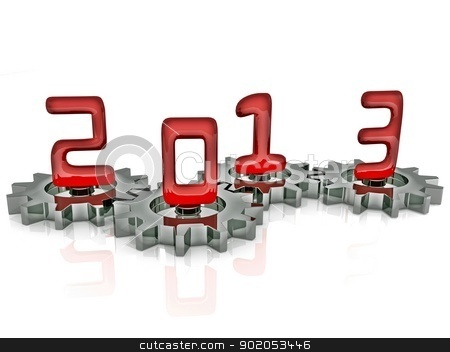 Happy New Year 2013 in Chrome and Red stock photo, New Year 2013 in red glass on metallic chrome gears  by Sidharth Thakur