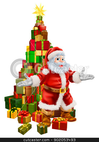Santa Claus Christmas Tree Gifts stock vector clipart, An illustration of happy Christmas Santa Claus with a large stack of presents or gifts in a Christmas tree shape with a star on top. by Christos Georghiou