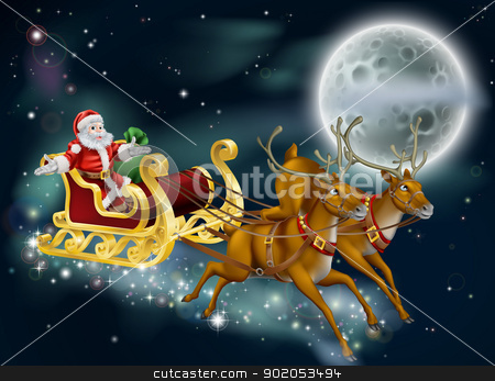 Santa on Delivering Gifts on Christmas Eve stock vector clipart, A Christmas illustration of Santa delivering gifts on Christmas Eve night with the moon in the background by Christos Georghiou