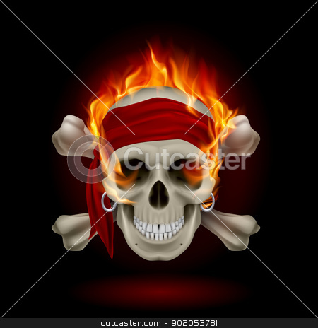 Skull in Flames stock photo, Pirate Skull in Flames. Illustration on black by dvarg
