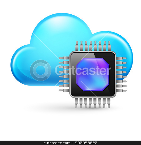 Chip and Cloud stock photo, Chip and Cloud. Illustration on white background by dvarg